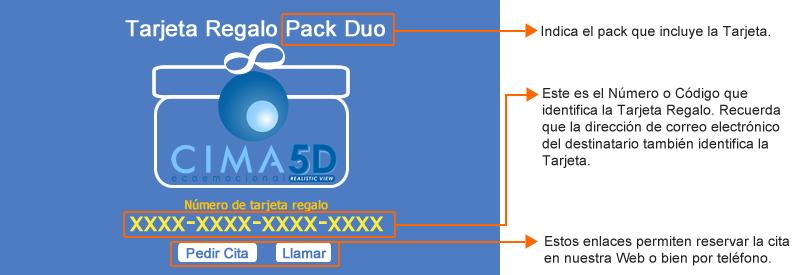 Tarjeta regalo packs Cima 5D